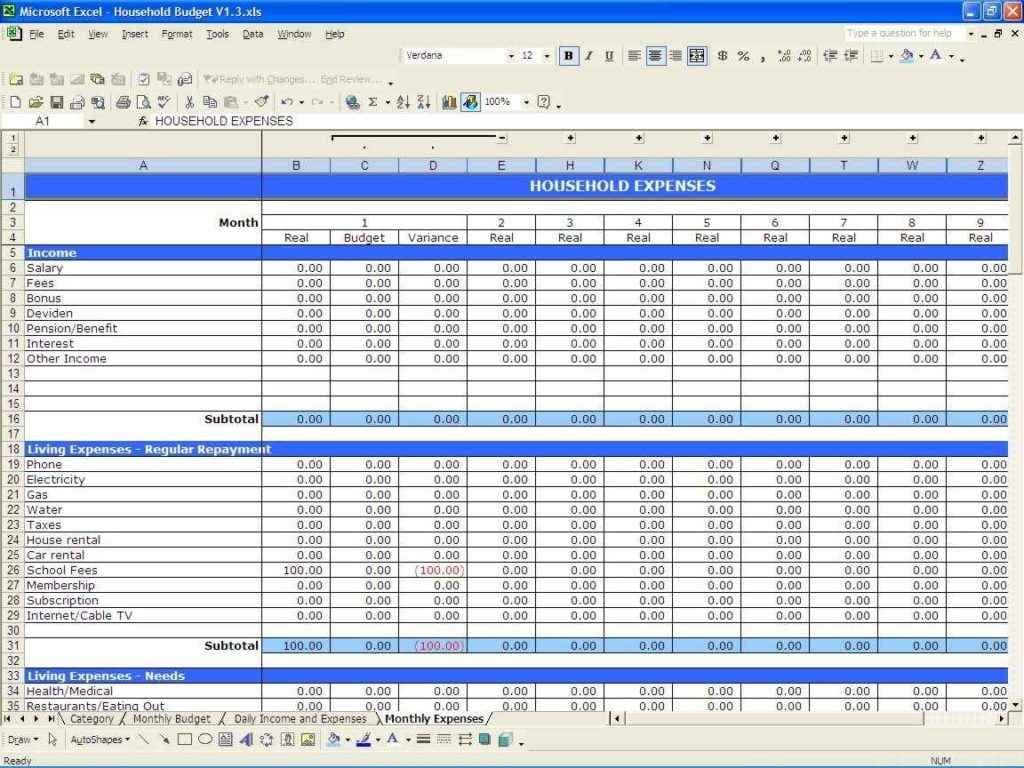 Free Excel Spreadsheet Template For Small Business 1