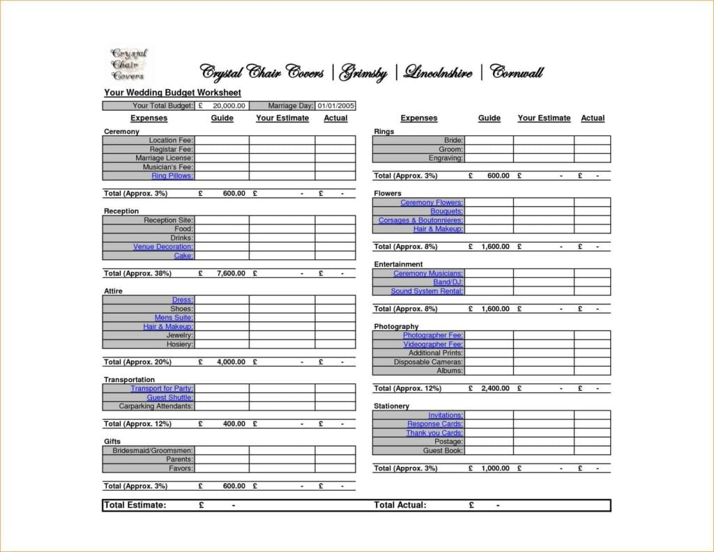 Wedding Budget Spreadsheet Excel Template 1