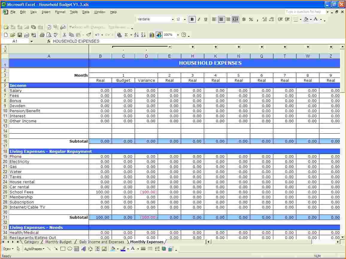 Budget Spreadsheet Excel