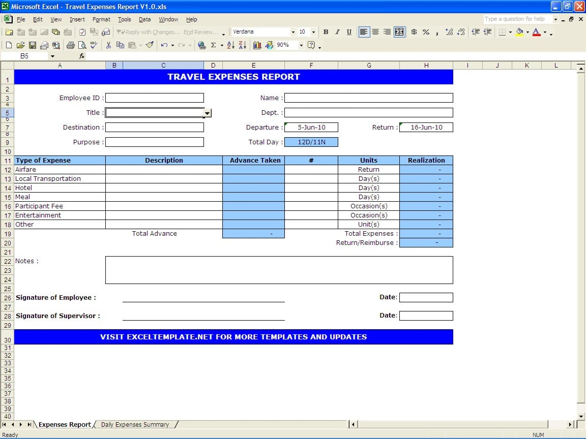 Daily Expenses Tracker Spreadsheet Templates For Busines