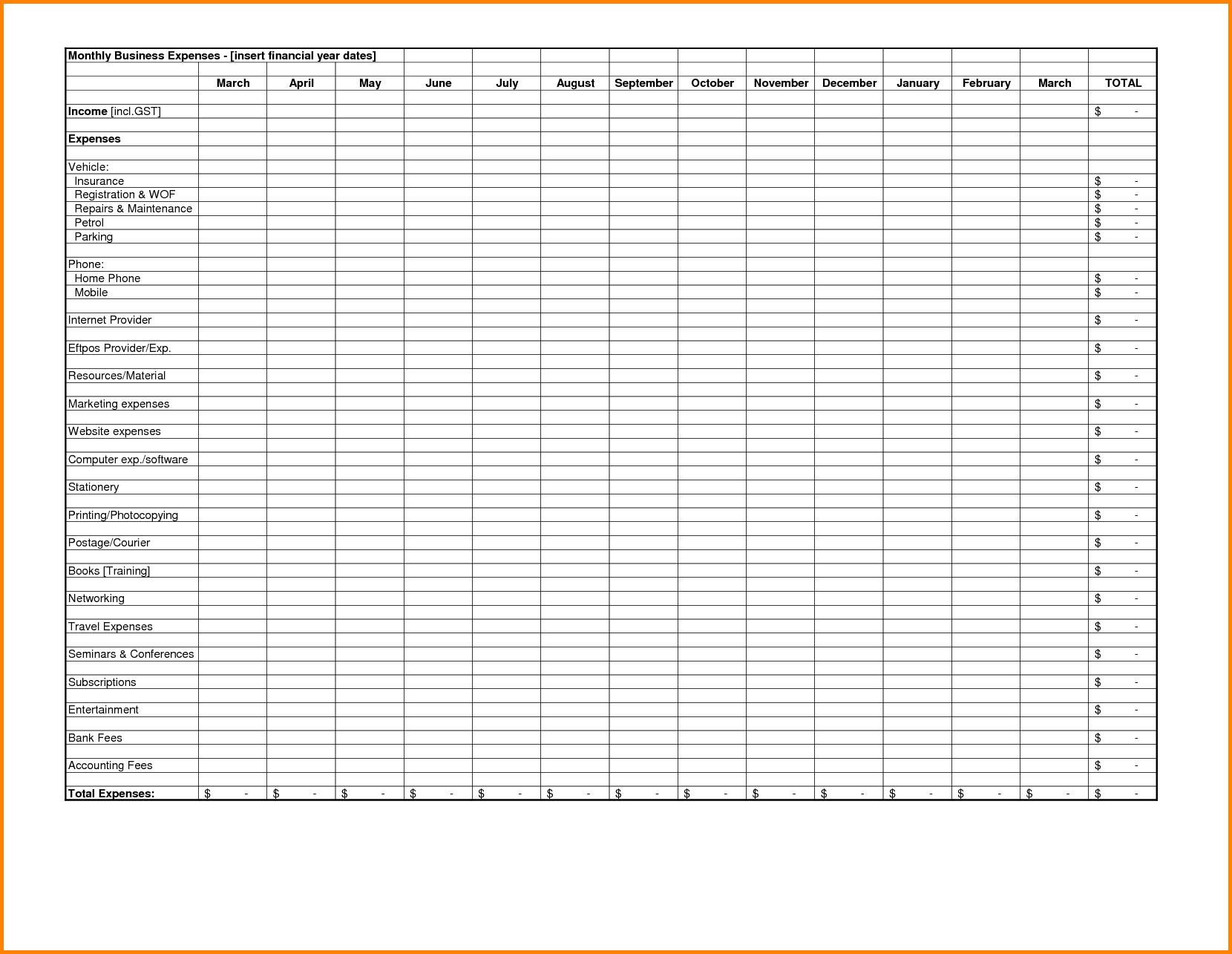 Excel Spreadsheet Template For Expenses Spreadsheet