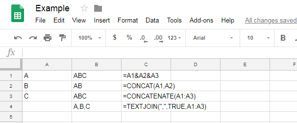 A comparison of options to concatenate in spreadsheets