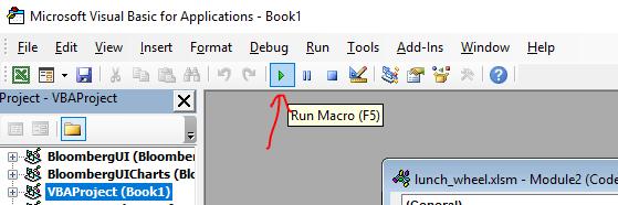 Excel VBA Editor - Run Macro (F5)