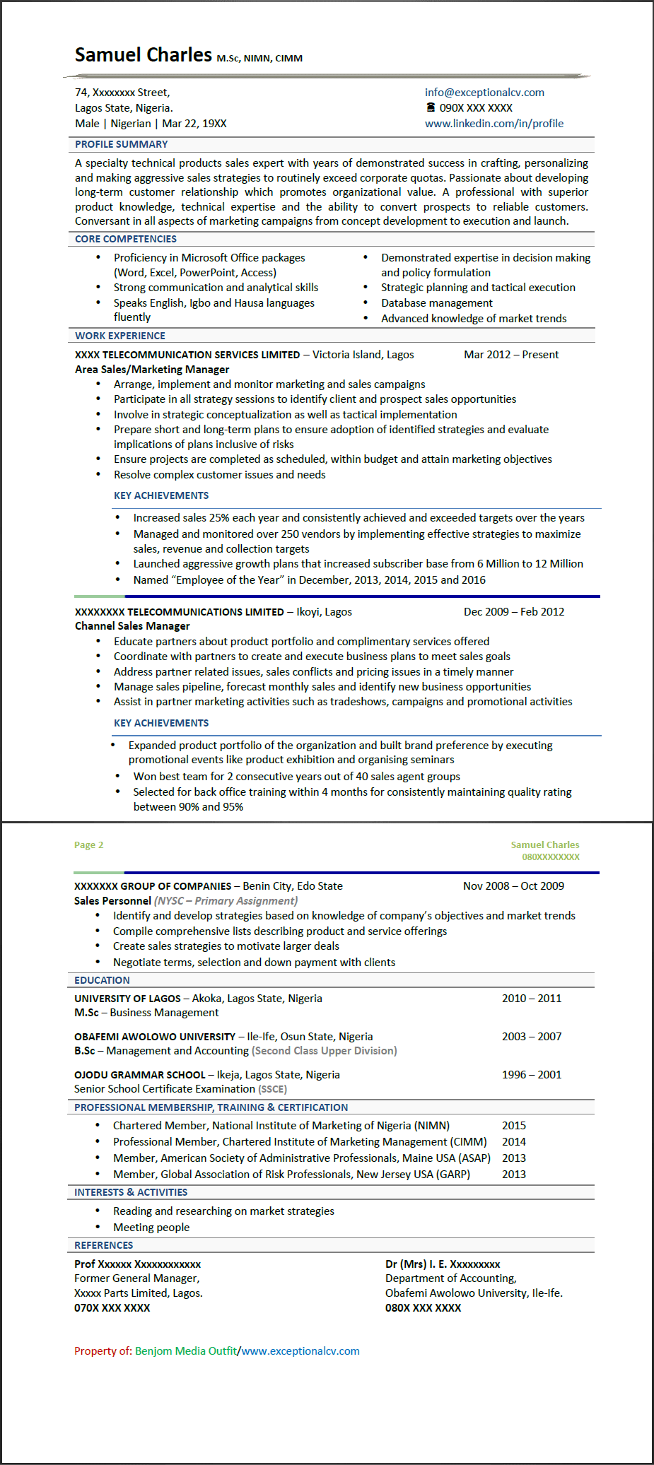 Exceptional CV Samples