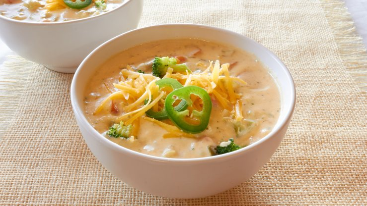 Jalapeno Broccoli Cheese Soup in a bowl