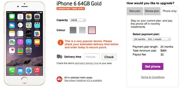 Vodafone iPhone6 Mobile Payment Plan