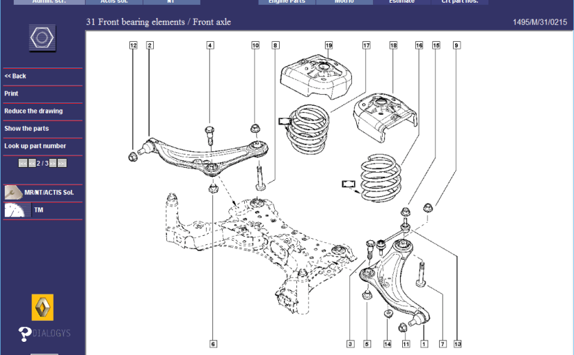 Renault Megane RS265 Front Suspension  Parts Diagrams 1