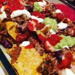 #Homemade #Nachos - or rather a stack of #cornchips layered with #beef #salsa #guacamole #sourcream #cherrytomatos and #cheese #MexicanNight #CheatDay #Instafood #Instafoodie #Goodeats #Food #Dinner #dinnertime