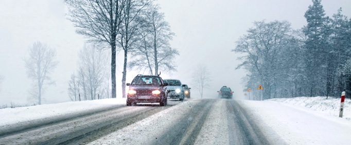 Cars driving in the snow