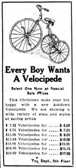 1923-12-05 - Winnipeg Tribune - Ashdown Bike Ad