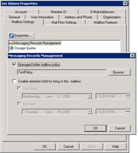 Screenshot: Applying Managed Folder Mailbox Policy using the Exchange Management Console
