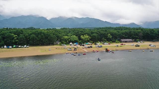 猪苗代湖畔の空撮!天神浜オートキャンプ場