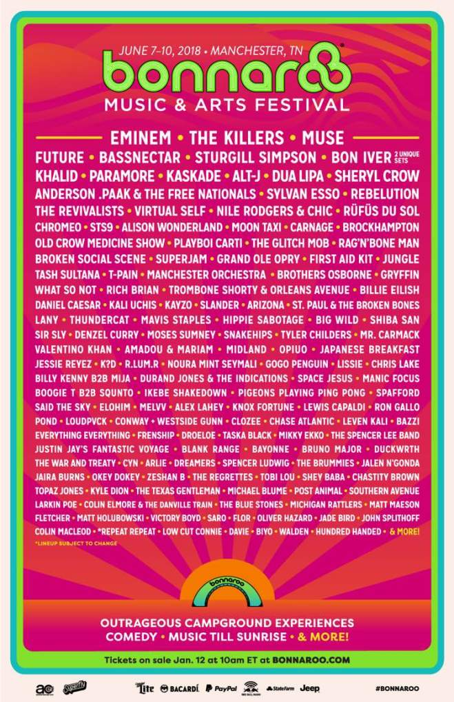 Bonnaroo Announces 2018 Lineup with Eminem, the Killers, Muse