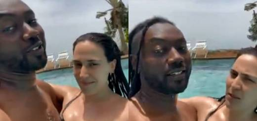 Pappy Kojo In A Pool With His Girlfriend