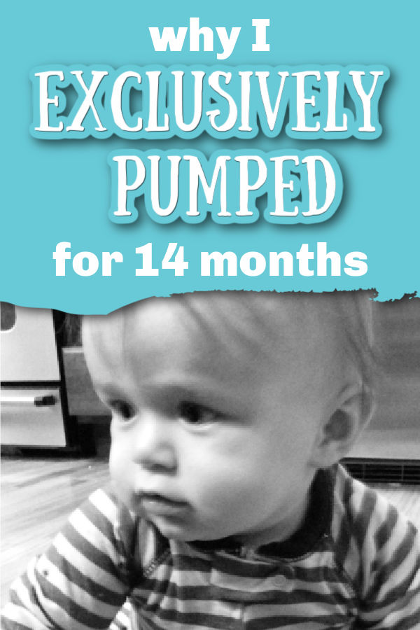 Black and white photo of baby wearing striped pajamas with text overlay Why I Exclusively Pumped for 14 Months