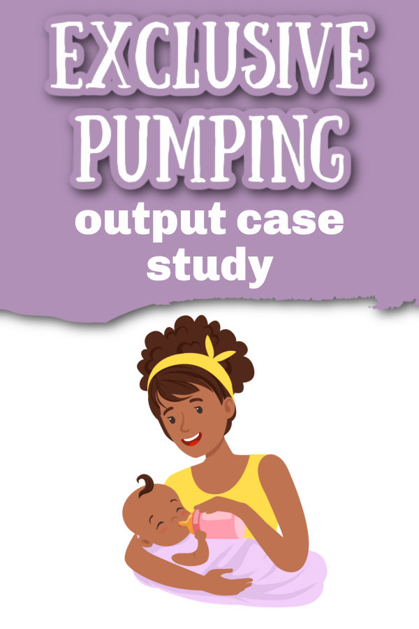 Illustration of mother feeding baby a bottle with text overlay Exclusive Pumping Output Case Study