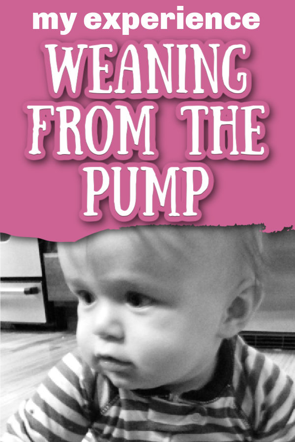 Black and white photo of baby wearing striped pajamas and sitting on the floor, not looking at the camera with text overlay My Experience Weaning from the Pump
