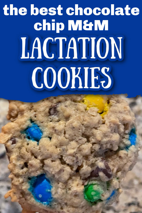 Chocolate chip M&M cookie with text overlay The Best Chocolate Chip M&M Lactation Cookies