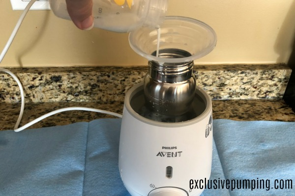 Pour breastmilk into bottle