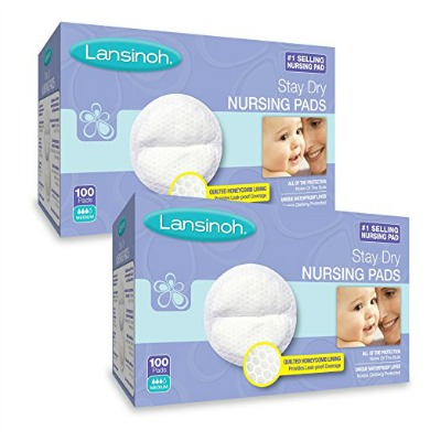 Two boxes of Lansinoh Breast Pads on a white background