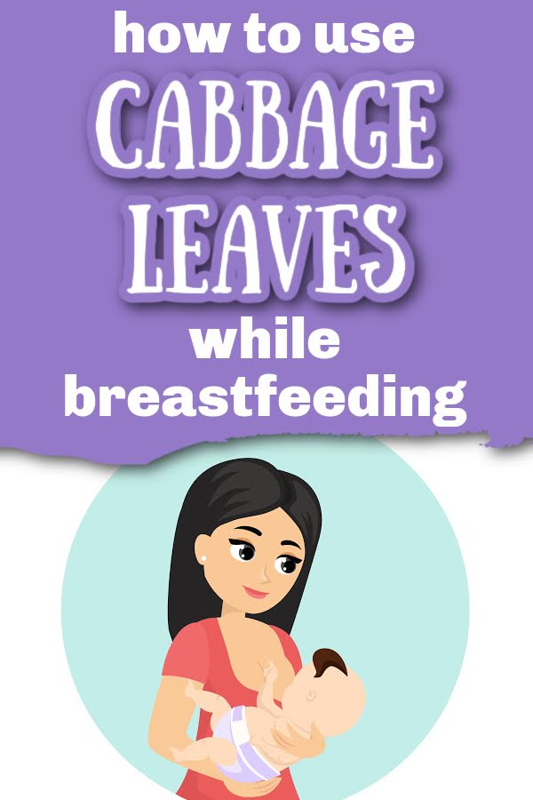 illustration of a woman breastfeeding with text overlay How to Use Cabbage Leaves While Breastfeeding