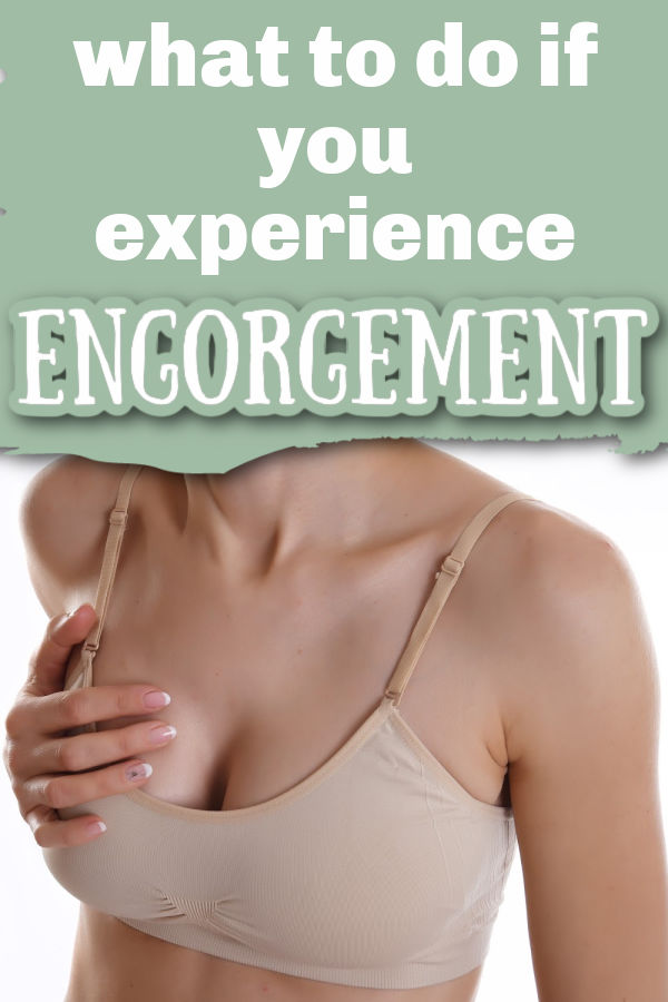 woman wearing tan bra holding breast in pain with text overlay What to Do if You Experience Engorgement