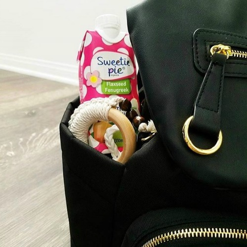 "Sweetie Pie Organics Lactation Smoothie in a black diaper bag ""on the go"""