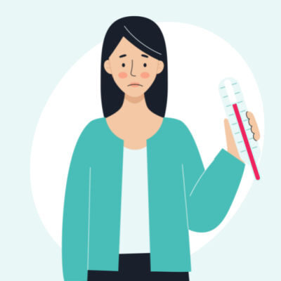 Illustration of sick woman holding up a thermometer