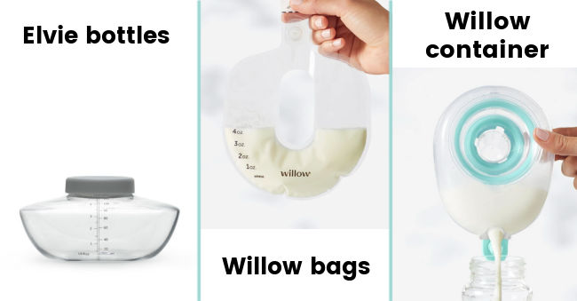 Containers for Wireless Breast Pumps - Elvie Bottle, Willow bags, Willow container