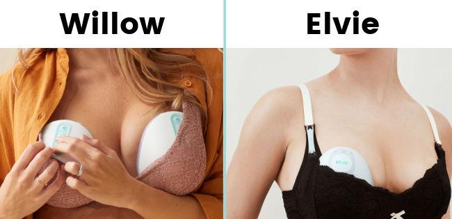 Willow breast pump tucked into nursing bra | Elvie breast pump tucked into bra