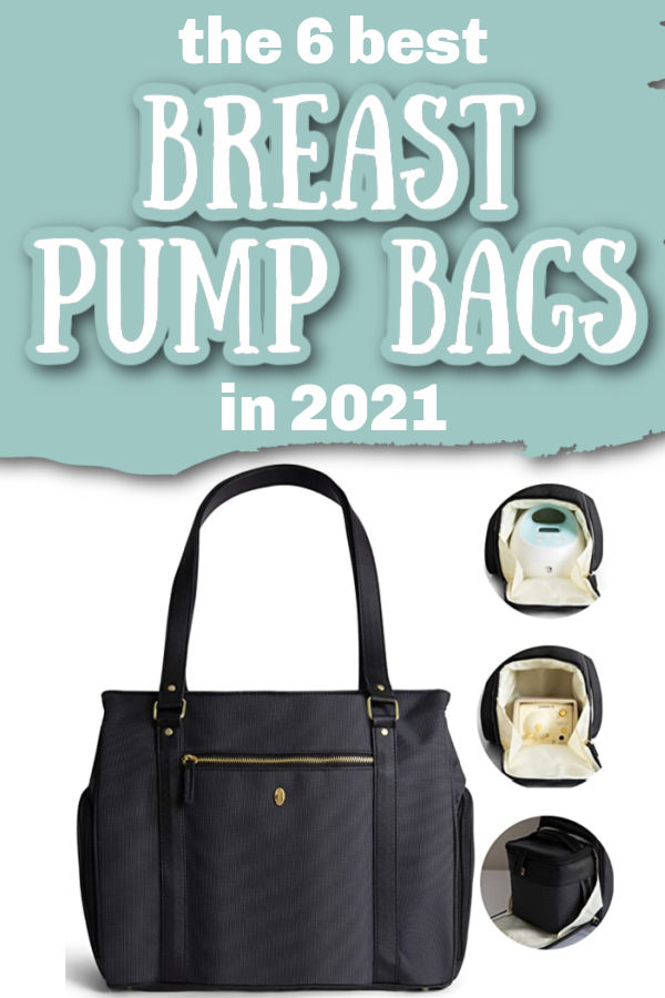 The 6 Best Breast Pump Bags in 2021 | Black Idaho Jones Ellergy breast pump tote bag with examples of Spectra and Medela pumps in the pocket