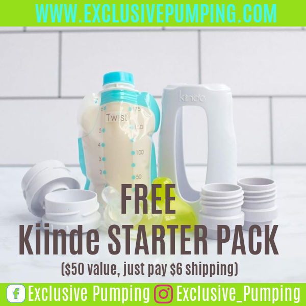 Kiinde bag with breast milk with bottle and text overlay Free Kiinde Starter Pack ($50 value, just pay $6 shipping)