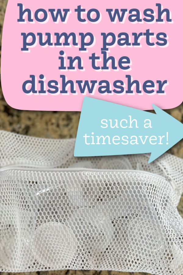 How to Wash Pump Parts in the Dishwasher | white mesh dishwasher bag containing Motif Luna breast pump parts