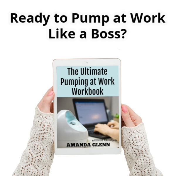 Ready to Pump at Work Like a Boss? | Women in white sweater holding The Ultimate Pumping at Work Workbook