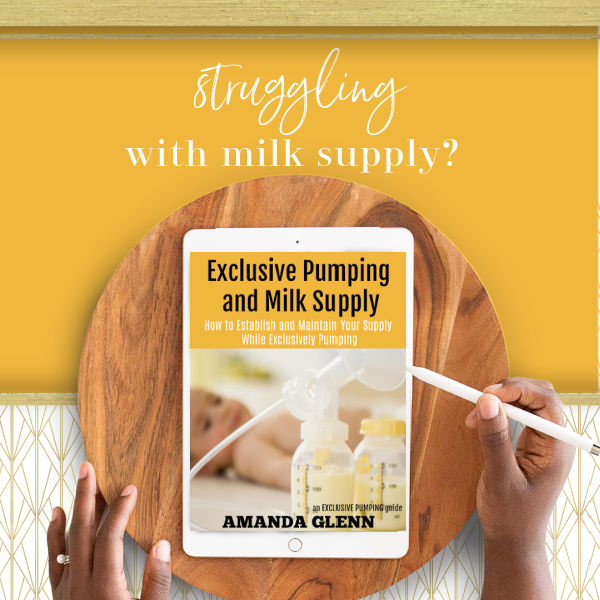 Struggling with milk supply? Woman holding Exclusive Pumping and Milk Supply on an iPad
