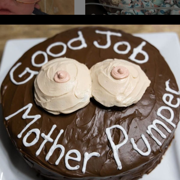 Pumping photoshoot: brown cake with good job mother pumper written on it