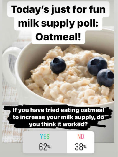 Does Oatmeal Increase Milk Supply? 62% yes