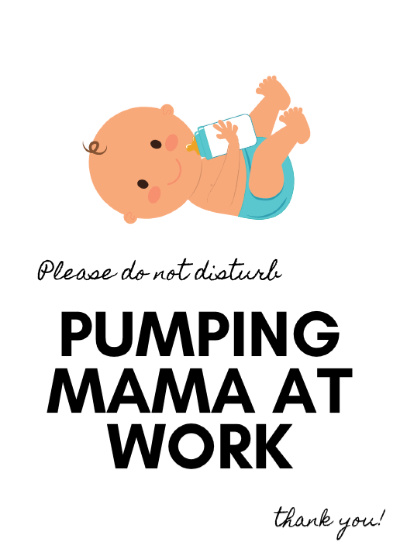 baby with a blue diaper drinking a bottle PUMPING MAMA AT WORK please do not disturb