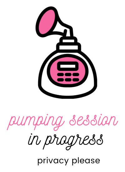 pink electric breast pump PUMPING SESSION IN PROGRESS privacy please