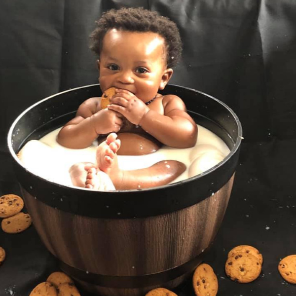 Baby in Breast Milk Bath