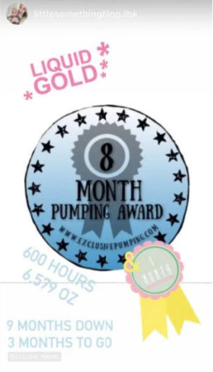 8 month pumping award posted on an instagram story