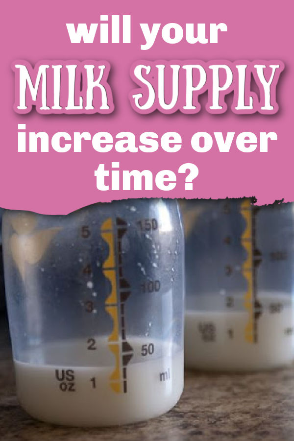 Two Medela bottles with 1-2 ounces in them with text overlay Will Your Milk Supply Increase Over Time?