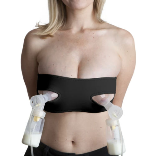 woman wearing black pump strap bra and pumping breastmilk