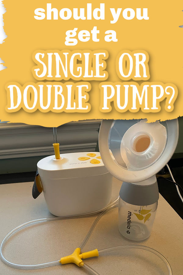 Medela max flow breast pump set up to single pump on a black desk with text overlay Should You Get a Single or Double Pump?
