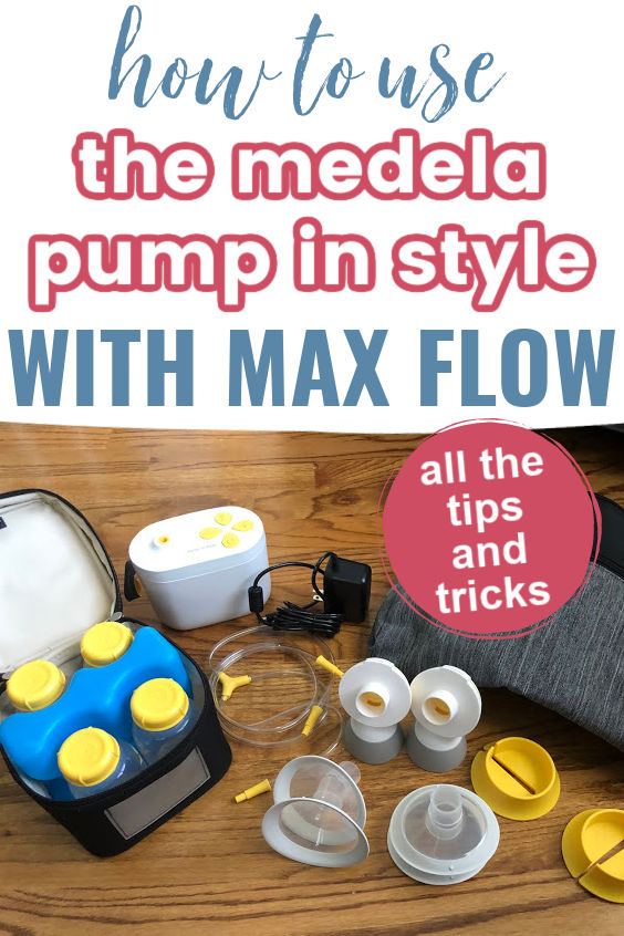 How to Use the Medela Pump in Style with Max Flow | Medela Max Flow pump | breast milk cooler with four bottles and blue ice pack | tubing | parts | gray and black bag on hardwood floors
