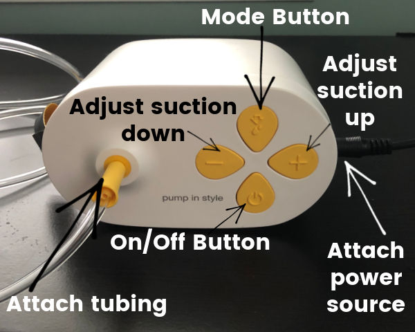 How to Use a Pump in Style with Max Flow | Max Flow pump showing mode button, buttons to adjust suction up and down, how to attach power source, how to attach tubing