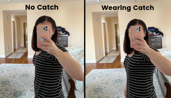 woman in black striped t-shirt not wearing Elvie catch, and another similar picture where she is