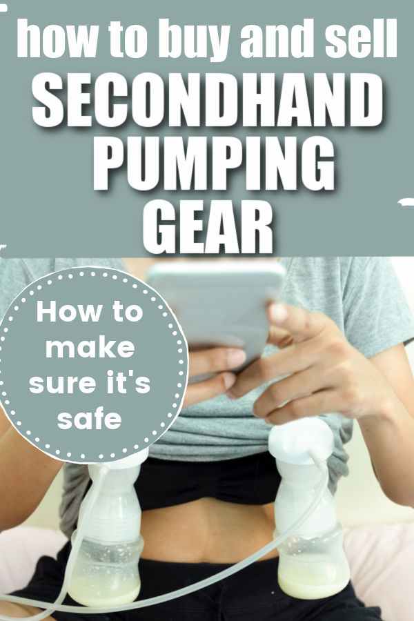 womaan sitting crosslegged wearing black shorts and a green t shirt pumping breast milk with text overlay How to Buy and Sell Secondhand Pumping Gear - How to Make Sure It's Safe