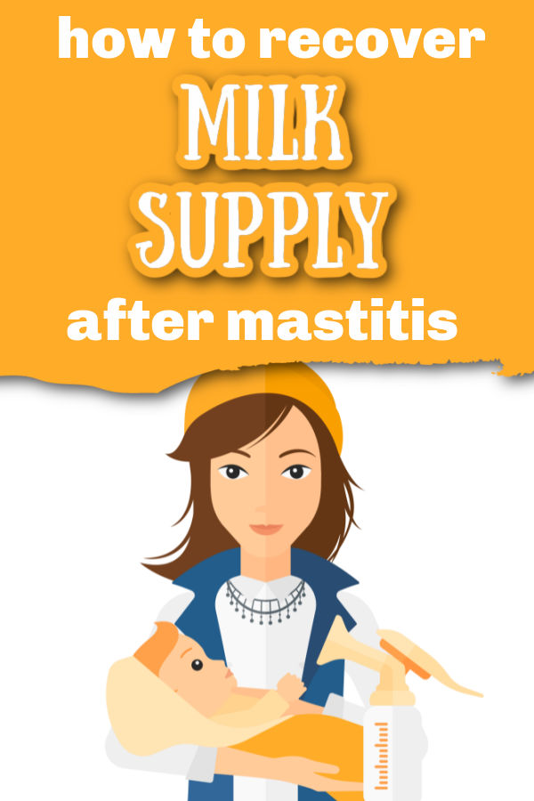 illustration of woman holding baby and a manual breast pump with text overlay How to Recover Milk Supply After Mastitis