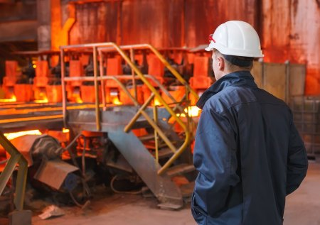 Steelworker recruiting candidate in a steel plant
